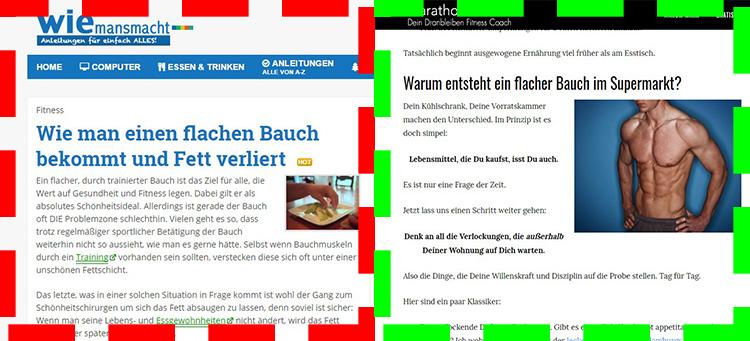 Links Textwüste / Rechts Mix Text & Bild