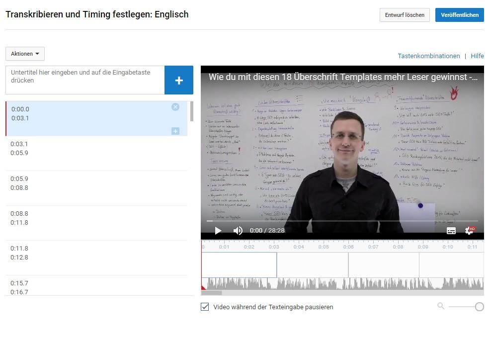 Transkript Editor Youtube