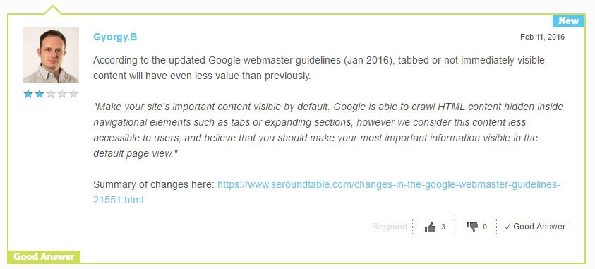 Google & Tabbed Content