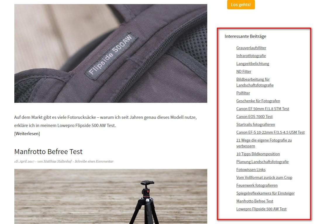 Wichtige Artikel auf matthiashaltenhof.de in der sidebar